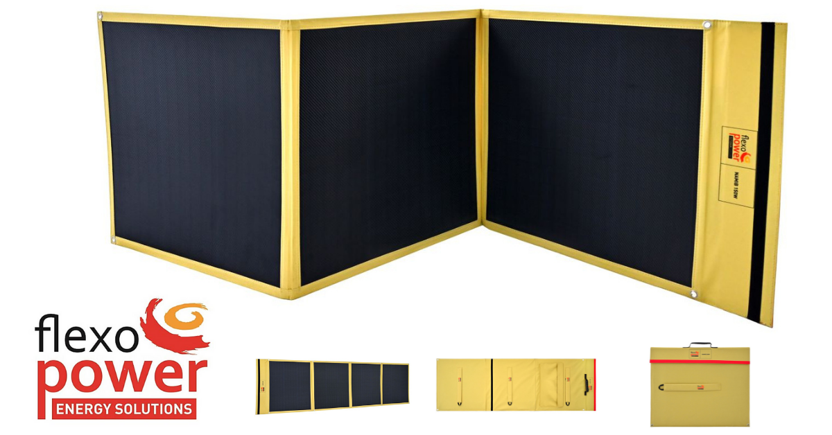 FLEXOPOWER OUTDOOR LEISURE RANGE HAS LAUNCHED TWO PRODUCTS TO THEIR SOLAR PANEL RANGE, THE NAMIB 150 AND NAMIB 240.